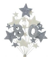 Number age 80th birthday cake topper decoration in silver and white - free postage